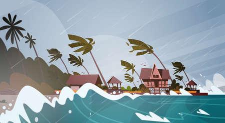 海のハリケーンから竜巻の受信。