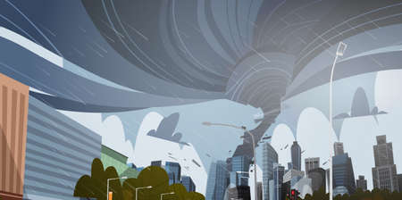 Swirling Tornado In City Destroy Buildings Hurricane Danger Huge Wind Waterspout Twister Storm Natural Disaster Concept Flat Vector Illustration Çizim