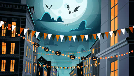 City Decorated For Halloween Celebration Home Building With Pumpkins, Garlands Holiday Night Party Concept Flat Vector Illustration