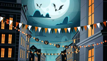 Ciudad decorada para la celebración de Halloween Inicio de la construcción con calabazas, Garlands Holiday Night Party concepto plano Vector Illustration