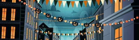 City Decorated For Halloween Celebration Home Building With Pumpkins, Garlands Holiday Night Party Concept Flat Vector Illustration Иллюстрация