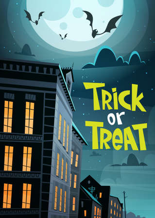 Halloween Party Banner Trick Or Treat Holiday Celebration Traditional Decoration Greeting Card Flat Vector Illustration Illustration