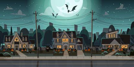Maisons décorées pour la façade de bâtiments de la maison de Halloween avec différentes citrouilles, concept de célébration de vacances de chauves-souris