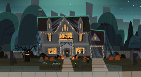House Decorated For Halloween Home Building Front View With Different Pumpkins, Bats Holiday Celebration Concept Flat Vector Illustration