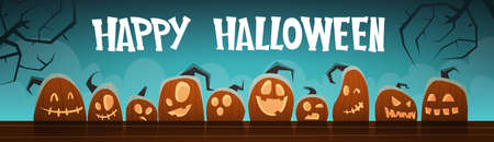 Happy Halloween Banner Different Pumpkins Traditional Decoration Greeting Card Flat Vector Illustration
