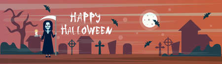 Happy Halloween Greeting Card Death With Scythe On Cemetery Graveyard With Grave Stones And BatsFlat Vector Illustration