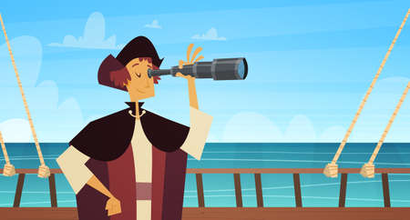 Man On Ship With Spyglass Happy Columbus Day.