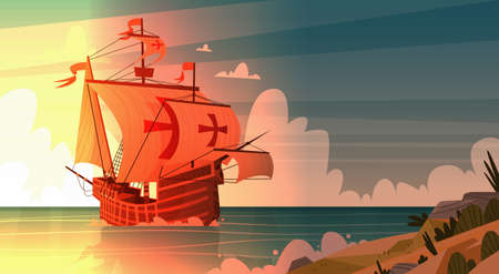 Ship In Sea On Sunset Happy Columbus Day.