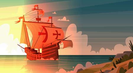 Spedisca in mare sul tramonto Columbus Day felice. Archivio Fotografico - 86740633