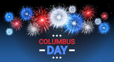 Happy Columbus Day National USA Holiday Greeting Card. Çizim