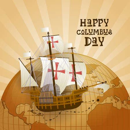 Happy Columbus Day National USA Holiday Greeting Card. Illustration