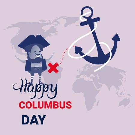 voyager: Happy Columbus Day National USA Holiday Greeting Card. Illustration