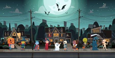 Kids Wearing Monsters Costumes Walking In Town. Ilustração