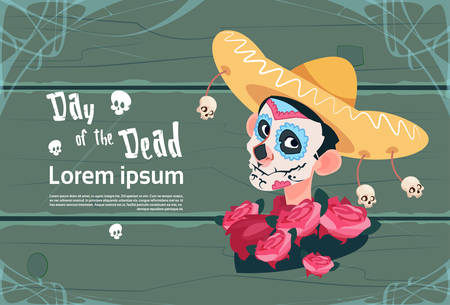 Day Of Dead Traditional Mexican Halloween Holiday Party. Illustration
