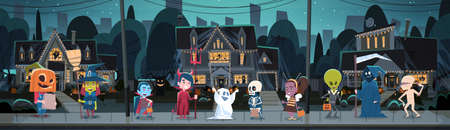 Kids Wearing Monsters Costumes Walking In Town. Illustration