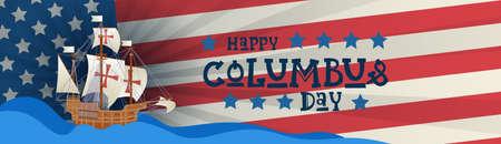Happy Columbus Day National USA Holiday Greeting Card.