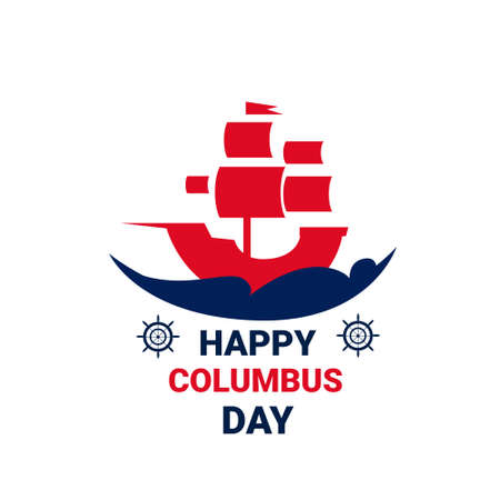 Happy Columbus Day National Usa Holiday Greeting Card Icon Isolated Flat Vector Illustration