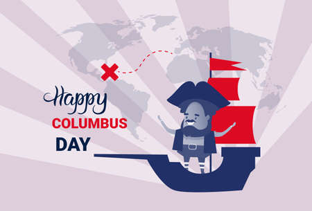 Happy Columbus Day National Usa Holiday Greeting Card With Ship Flat Vector Illustration Illustration