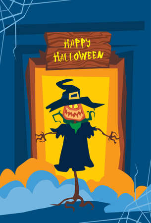 Happy Halloween Banner Jack Lantern Trick Or Treat Concept Holiday Greeting Card Flat Vector Illustration