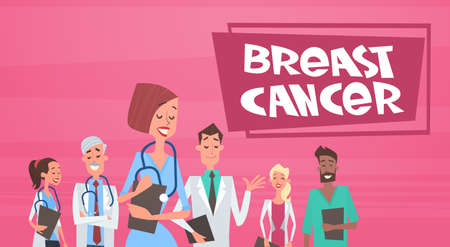 Breast Cancer Group Of Doctors On Disease Awareness And Prevention Poster Flat Vector Illustration