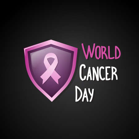 World Cancer Day Breast Disease Awareness Prevention Poster Greeting Card Flat Vector Illustration