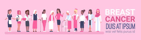 Breast Cancer Day Diverse Group Of Woman Disease Awareness And Prevention Poster Flat Vector Illustration Ilustracja