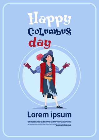 voyager: Happy Columbus Day On Holiday Poster Greeting Card Flat Vector Illustration
