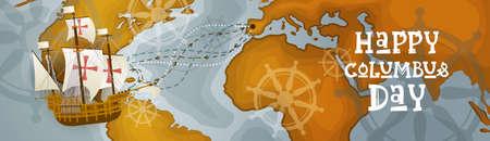 Happy Columbus Day America Scopri l'Holiday Poster Cartolina di auguri Retro Mappa del Mondo Banner orizzontale Illustrazione vettoriale piatta Archivio Fotografico - 87119206