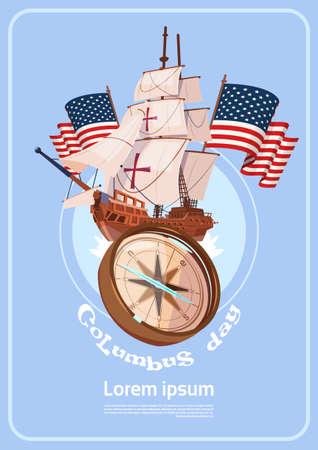 discoverer: Happy Columbus Day America Discover Holiday Poster Greeting Card Flat Vector Illustration