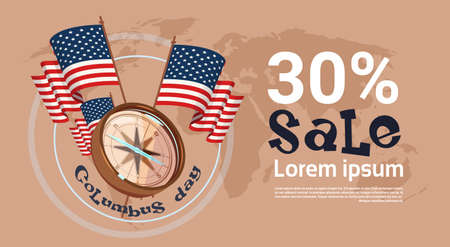 Happy Columbus Day Seasonal Holiday Sale Shopping Discount America Discover Poster Greeting Card Flat Vector Illustration Illustration