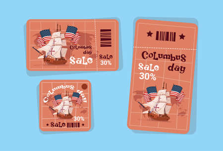 voyager: Columbus Day Seasonal Holiday Sale Tags Shopping Discount Icons America Discover Greeting Card Flat Vector Illustration Illustration
