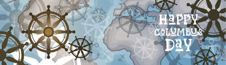 voyager: Happy Columbus Day banner. Illustration
