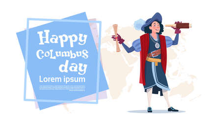 Happy Columbus Day American Discovery Holiday Poster Greeting Card Flat Vector Illustration  イラスト・ベクター素材