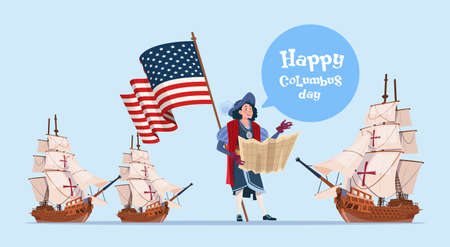 navigator: Happy Columbus Day Ship America Discovery Holiday Poster Greeting Card Flat Vector Illustration