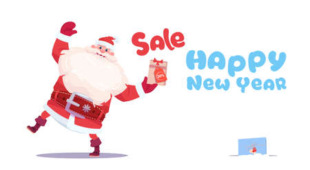New Year Sale Banner Holiday Discounts Promotion Label Christmas Shopping Concept Flat Vector Illustration