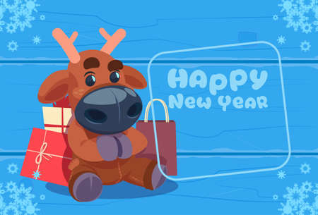 postcard box: Cute Deer On Happy New Year Greeting Card Christmas Holiday Concept Flat Vector Illustration