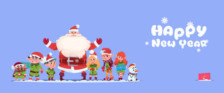 Santa Claus With Elfs On Happy New Year Greeting Card Merry Christmas Holiday Concept Flat Vector Illustration Illustration