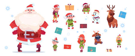 Santa Claus With Elfs Set Isolated Characters On White Background Happy New Year And Merry Christmas Holiday Concept Flat Vector Illustration  イラスト・ベクター素材