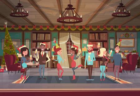 Menschen feiern Frohe Weihnachten und Happy New Year Männer und Frauen tragen Santa Hats Urlaub Eve Party Konzept flache Vektor-Illustration