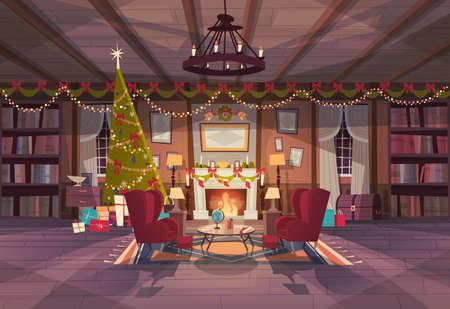 Salon décoré pour Noël et nouvel an, fauteuils vides près de Pine Tree et cheminée, décoration d'intérieur à la maison vacances d'hiver Concept plat Vector Illustration