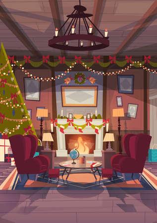 Wohnzimmer dekoriert für Weihnachten und Neujahr, leere Sessel in der Nähe von Kiefer und Kamin, Home Innendekoration Winter Urlaub Konzept flache Vektor-Illustration Vektorgrafik