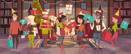 Mensen vieren kerst pictogram. Stock Illustratie