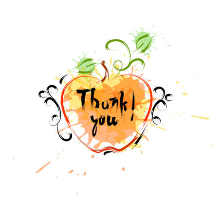 Thank You, Happy Thanksgiving Day; Autumn Traditional Holiday Greeting Card, Flat Style Illustration Illustration