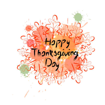 Happy Thanksgiving Day; Autumn Traditional Holiday Greeting Card, Flat Style Illustration Illustration