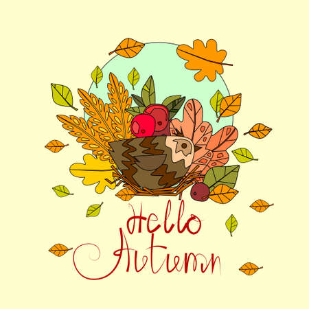 HI: Hello Autumn Season Banner With Hand Draw Lettering and Falling Leaves Design Greeting Card Illustration Illustration