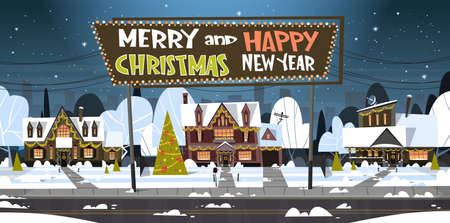 Merry Christmas And Happy New Year banner.