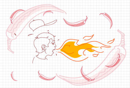 Male Breathing Fire, Hot Chili Pepper Concept Sketch Vector Illustration
