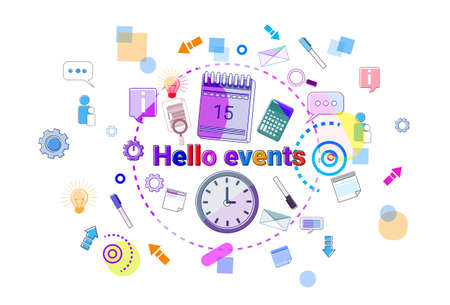 Hello Events, Business Schedule Time Management Concept Web Banner Vector illustration