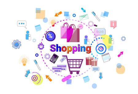 Shopping Online Concept Mobile Retail Store Internet Purchase Banner Vector Illustration Illustration