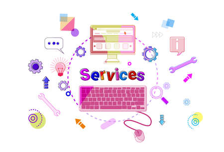Services Banner Technical Support Client Help Concept Vector Illustration Illustration